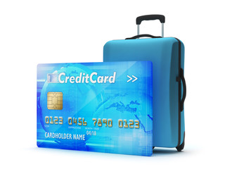 Credit card and travel bag as holiday payment symbol