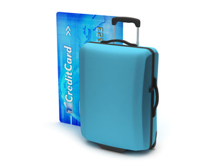 Travel luggage and credit card