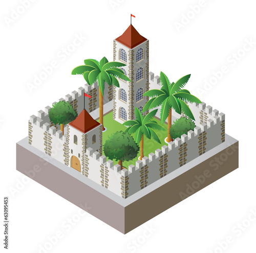 isometric fortress surrounded by a wall with a garden