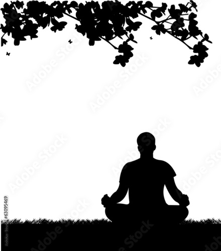 Isolated man meditating and doing yoga exercise