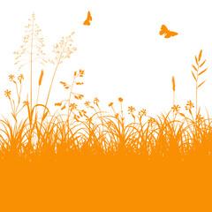 Blumenwiese, Gras, Silhouette, Panorama, Grass, Hayfield, EPS