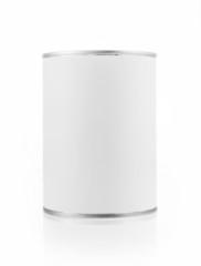 various white tin can on white background.