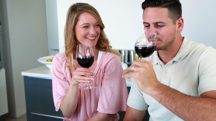 Happy couple smiling at the camera toasting with red wine