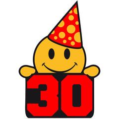 Smiley Lustig Feiern Party 30