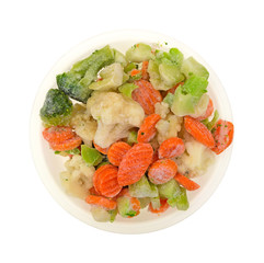 Frozen Veggies Top View White Background