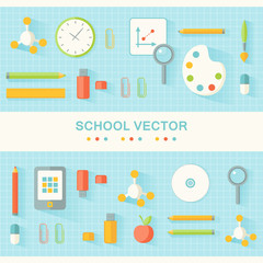 School and Education Banners. Flat Design