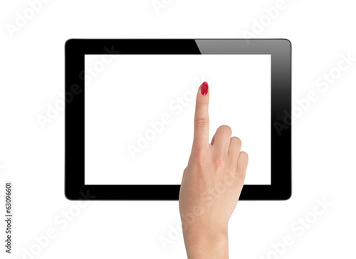 female hands holding a tablet isolated on white