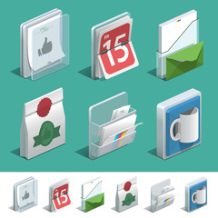 Basic isometric icon set for Print shop
