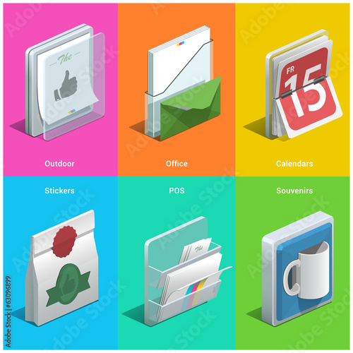 Printing isometric icons on a colorful background