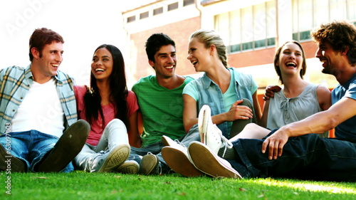 Happy students chatting together on the grass