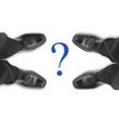 Fragezeichen mit Schuhen