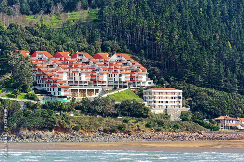 Houses near sea in Urdaibai. Basque Country