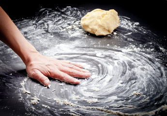 Cook hands preparing cookies dough
