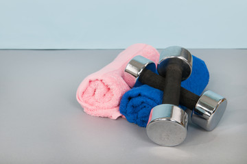Dumbbells and towels