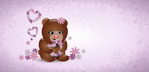 Cute bear with flowers on light purple background