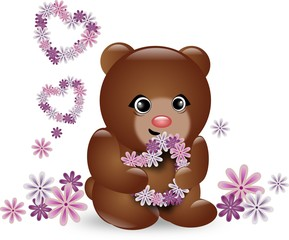 Small cute brown bear with floral hearts