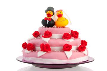 wedding cake with couple funny ducks