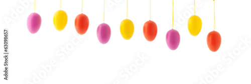 Colorful hanging row easter eggs