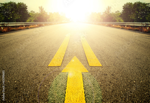 Road and Yellow arrow.
