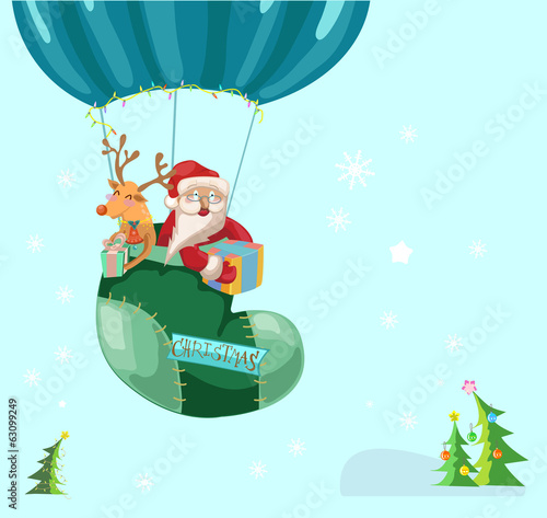 Funny Color Christmas background with hot air balloon with Santa