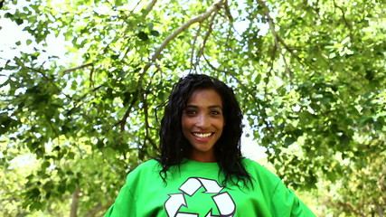 Happy environmental activist smiling at camera
