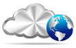 Silver Cloud with Earth Globe - Cloud Computing Concept