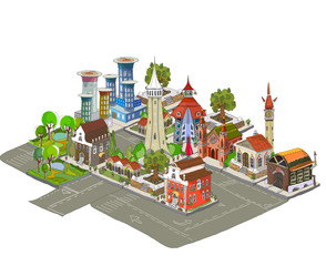 3D city icons hand drawing set collection