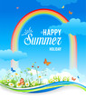 Positive summer background with rainbow