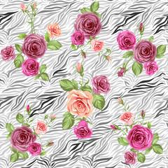 Stylish animal pattern and roses
