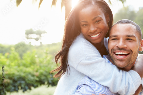 Leinwanddruck Bild Portrait Of Loving African American Couple In Countryside