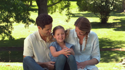 Young family relaxing in the park together