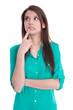 Junge Frau isoliert nachdenklich in Grün