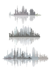 City silhouettes, city line collection