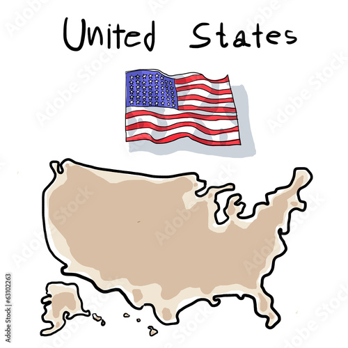 falg and map of united states painting