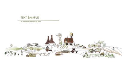 Farm illustration, agricultural concept