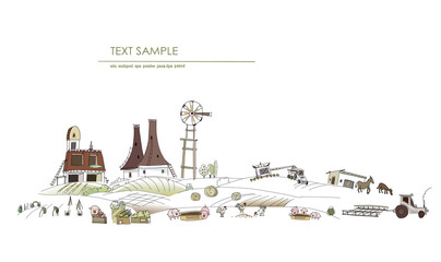 Farm illustration, agricultural concept