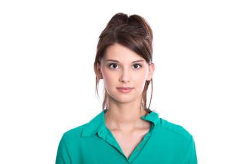 Gesicht - hübsches junges Mädchen emotionslos isoliert
