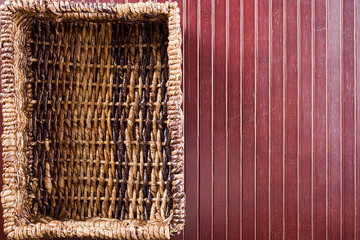 Background with wicker basket