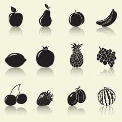 fruits and berries, silhouettes: apple, pear, banana
