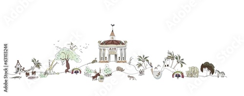 Zoo illustration, wild life park
