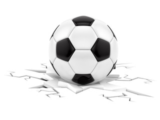 render of soccer ball crushing ground, isolated on white