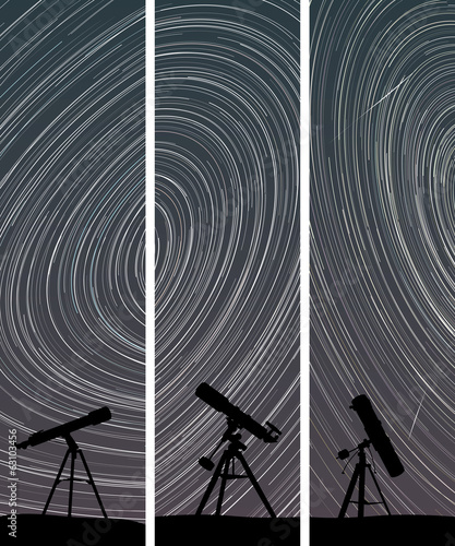 Vertical banners of stars trace circles on the sky with telescop