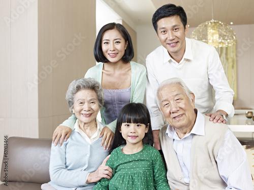 Poster portrait three-generation asian family