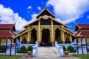 thai palace temple in burma style at Surasri Camp, Kanchanaburi,