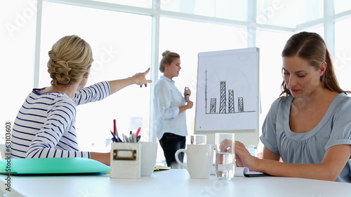Businesswoman presenting bar chart to colleagues