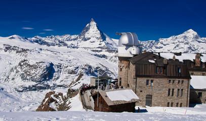 The Gornergrat Observatory and Matterhorn peak, Zermatt Switzerl