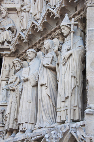 Saints on fasade of The Notre Dame de Paris. France.
