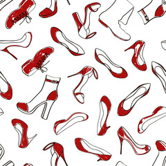 Seamless pattern of women footwear
