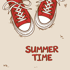 Illustration with pair of sneakers