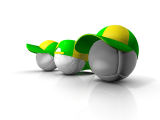 footballs with green and yellow hat - isolated white background